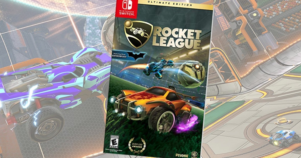 Rocket League Nintendo Switch game with faded screen shot of game in background