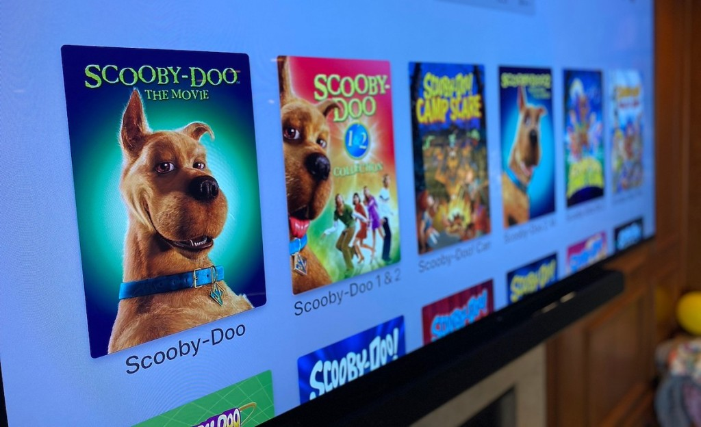 close up of tv screen with scooby doo shows