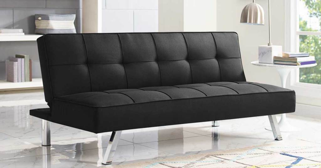 serta couch in black in a living room