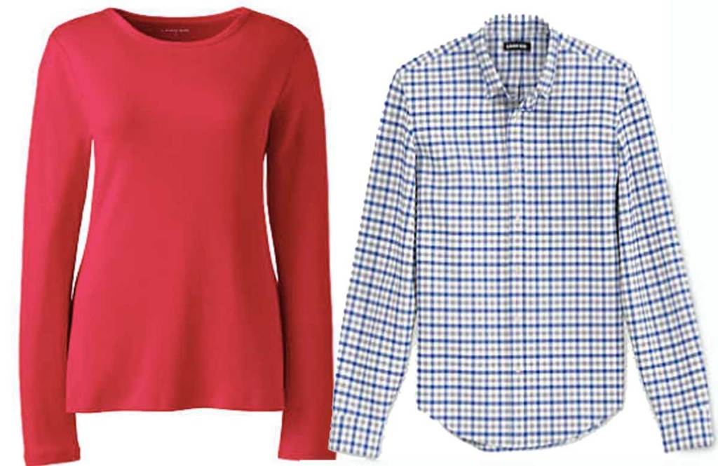 lands end womens and men shirts