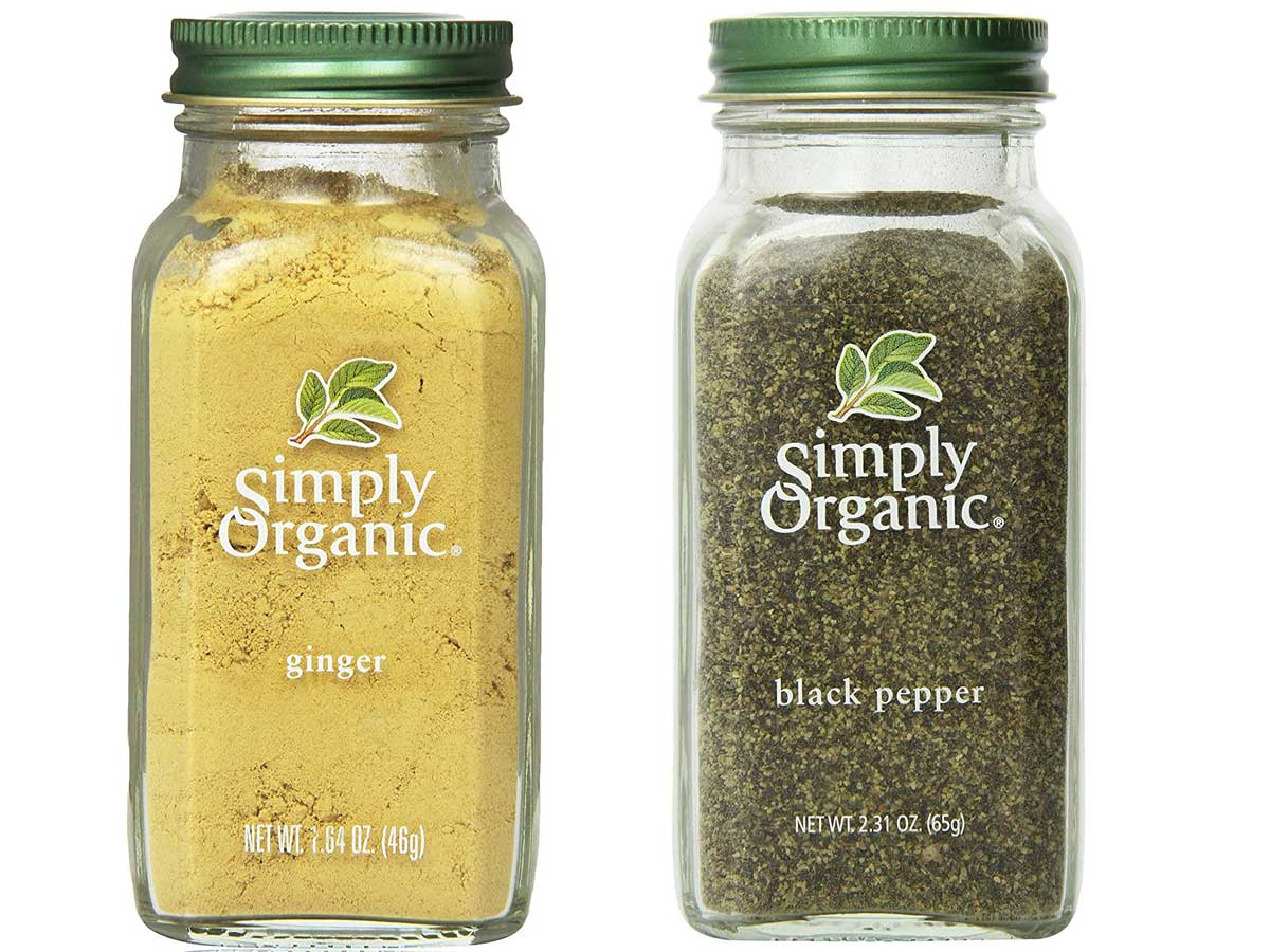 simply organic ginger and black pepper stock images