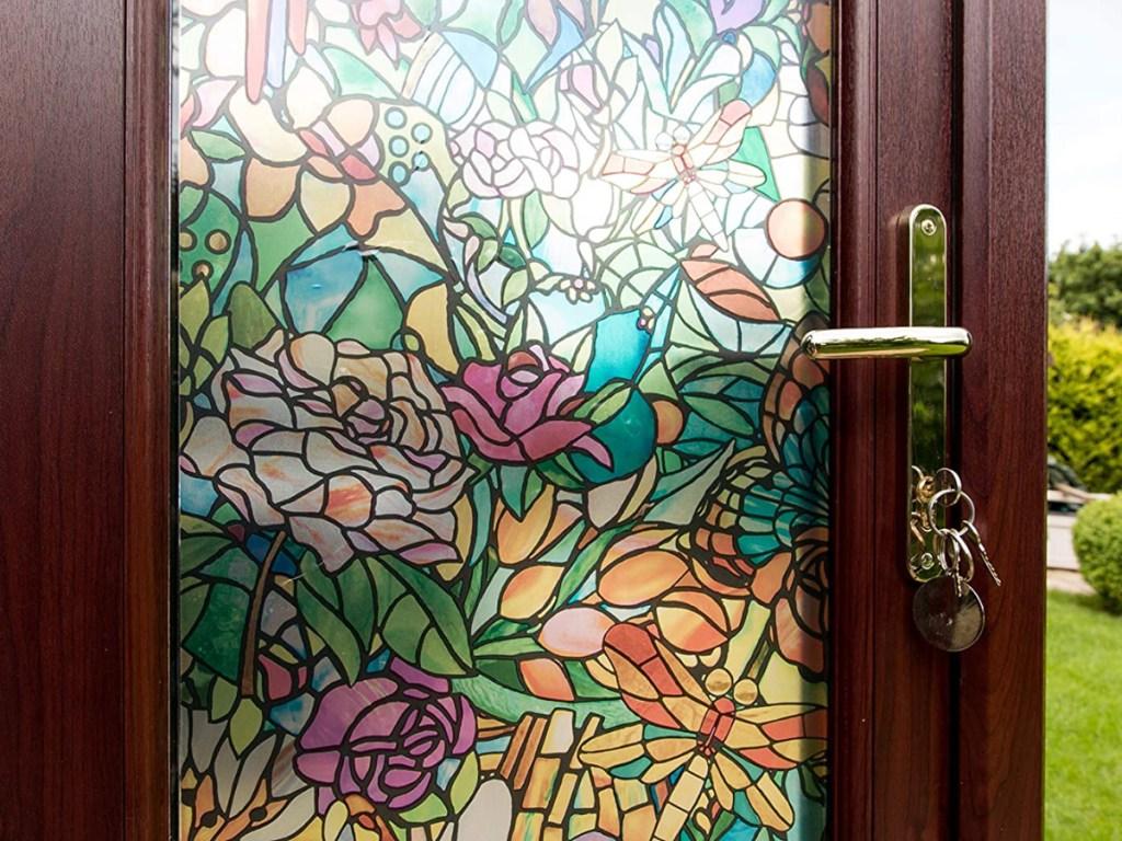 stain glass window film on opened door