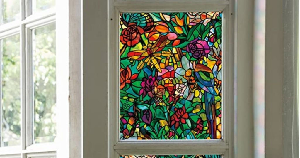 stain glass film over window with white trim