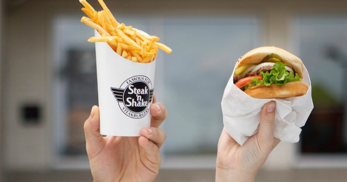 steak n shake burger and fries
