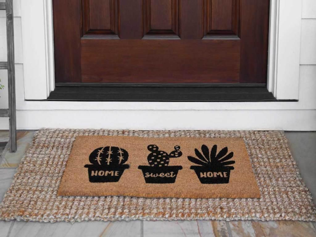 succulent doormat in front of entryway