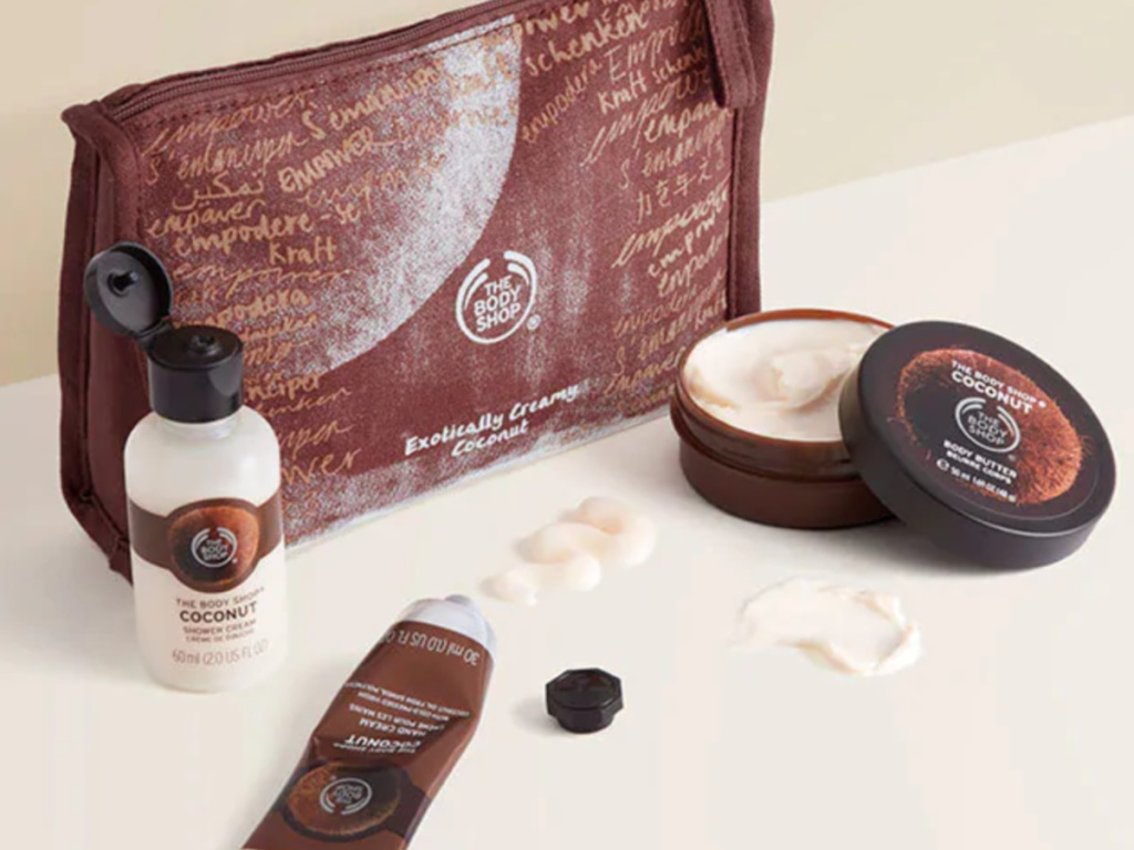 the body shop toiletries bag and lotions on counter