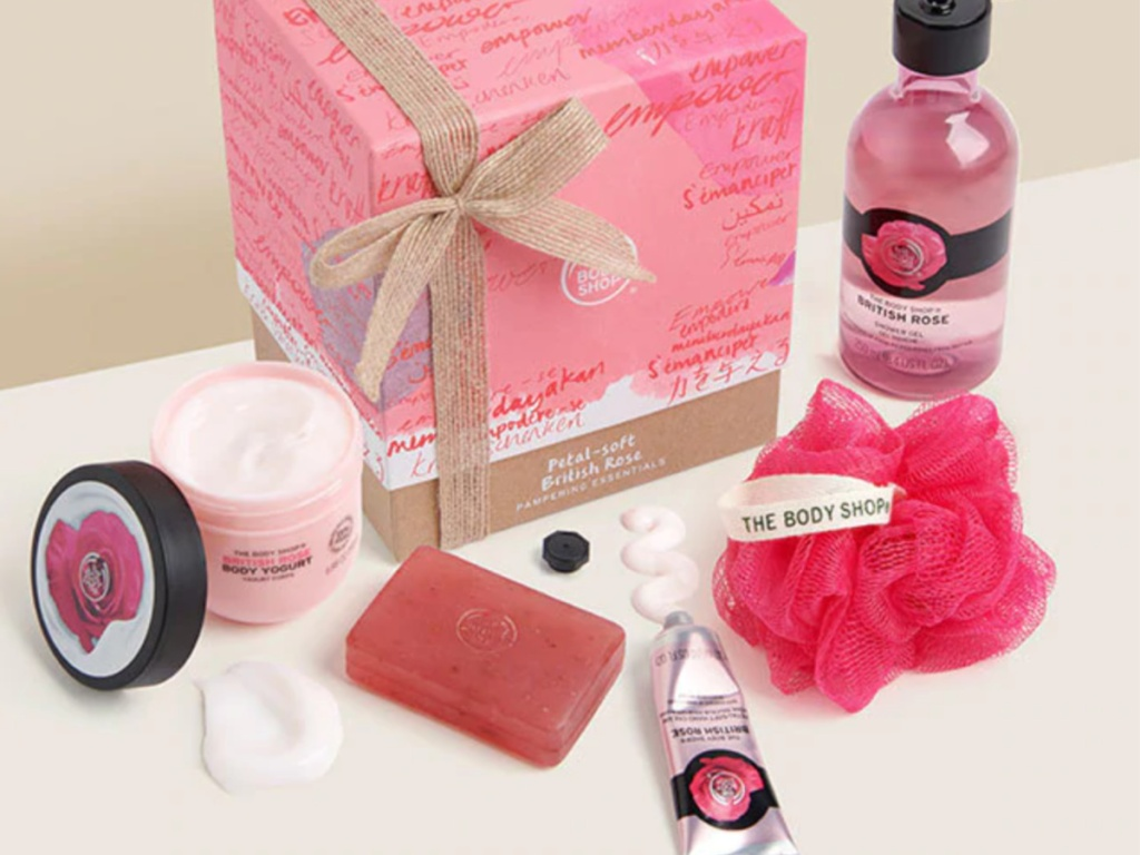 petal-soft gift box with bath items on counter