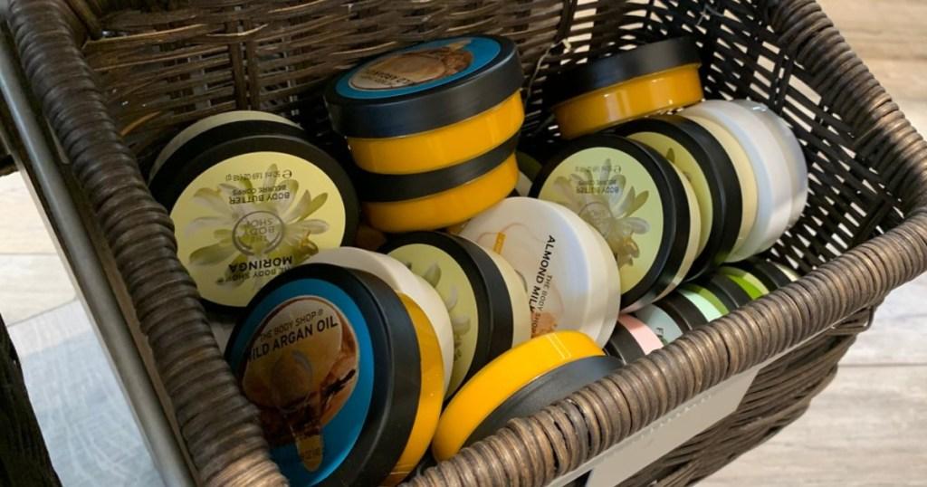 body butter in basket in store