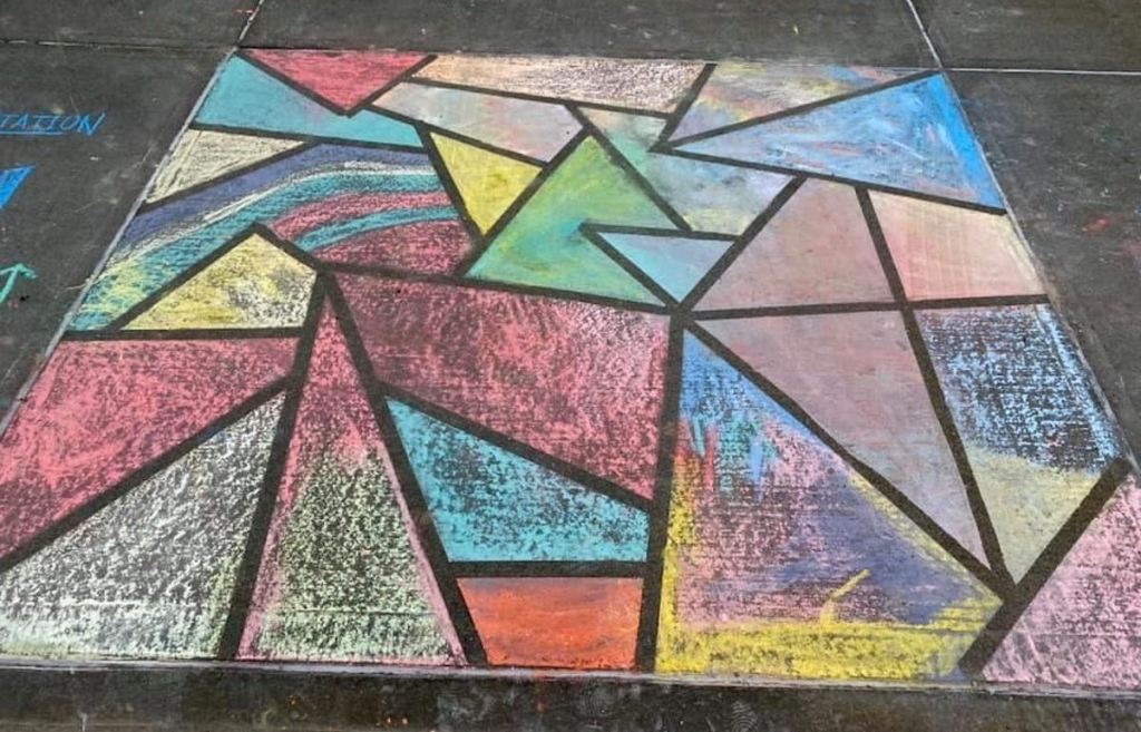tie dye stained glass chalk art on pavement