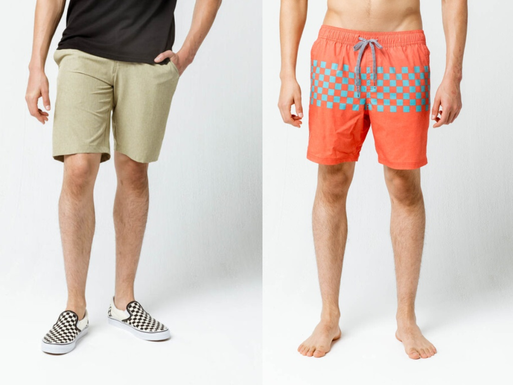 men wearing tan shorts and orange and blue square shorts