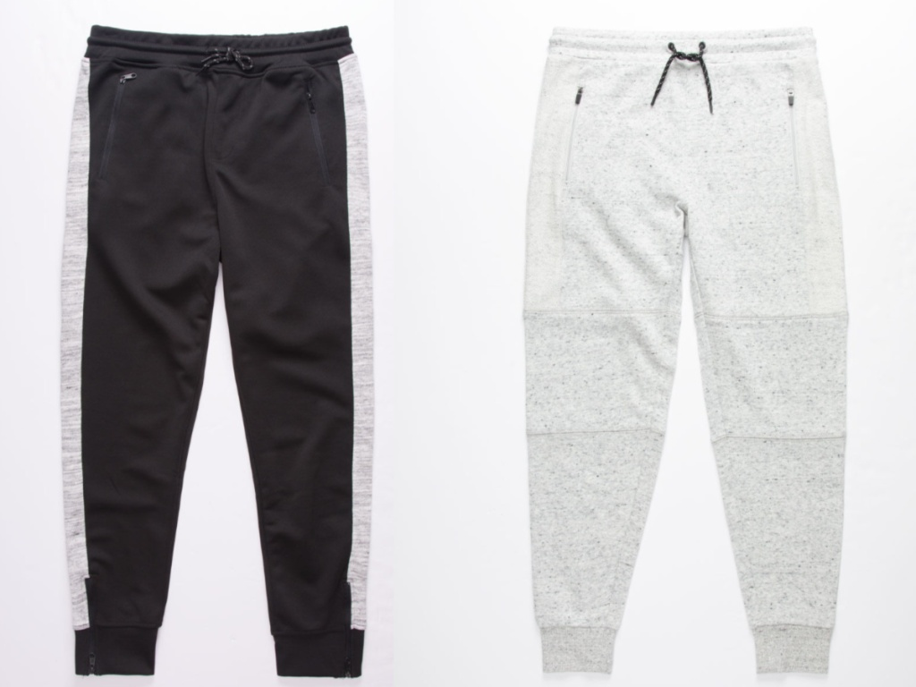 black and gray joggers and gray joggers