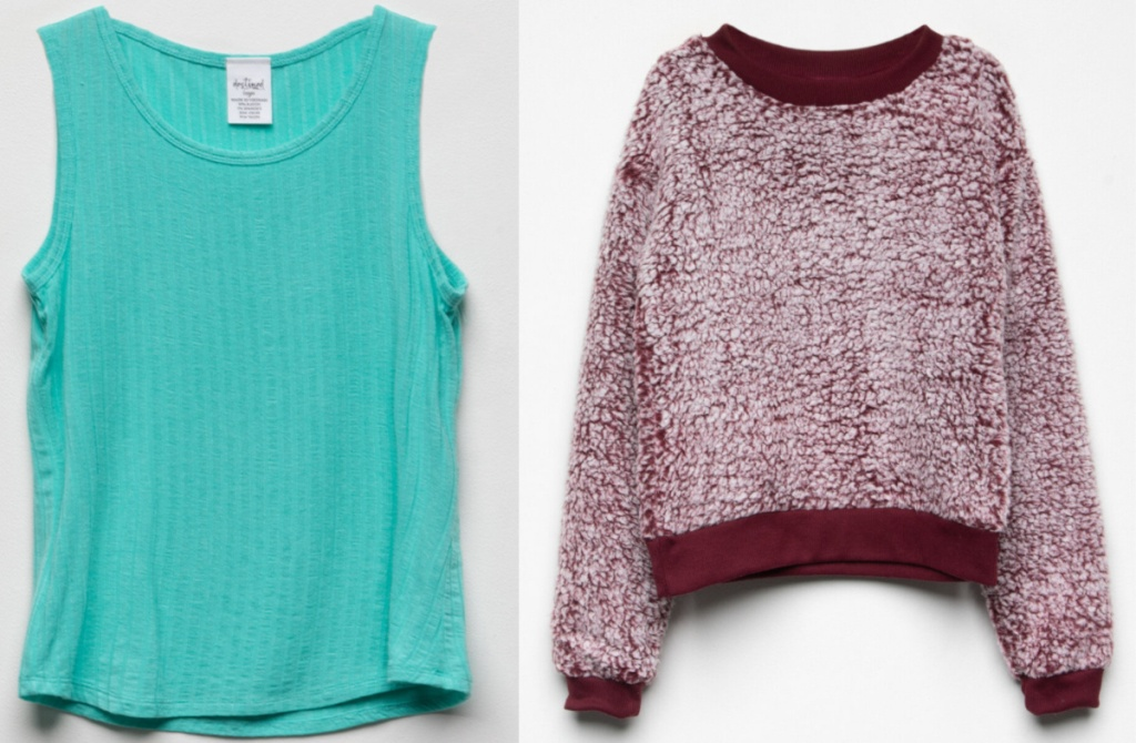 teal tank and maroon and white fully sweater