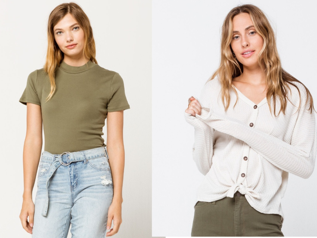 women wearing green shirt and white button down shirt