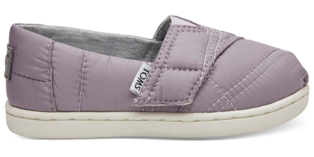 tiny TOMS quilted classics product display one shoe