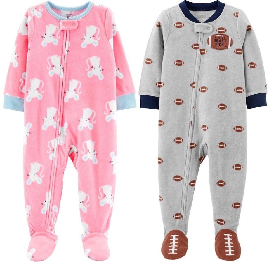 two pairs of one piece pajamas