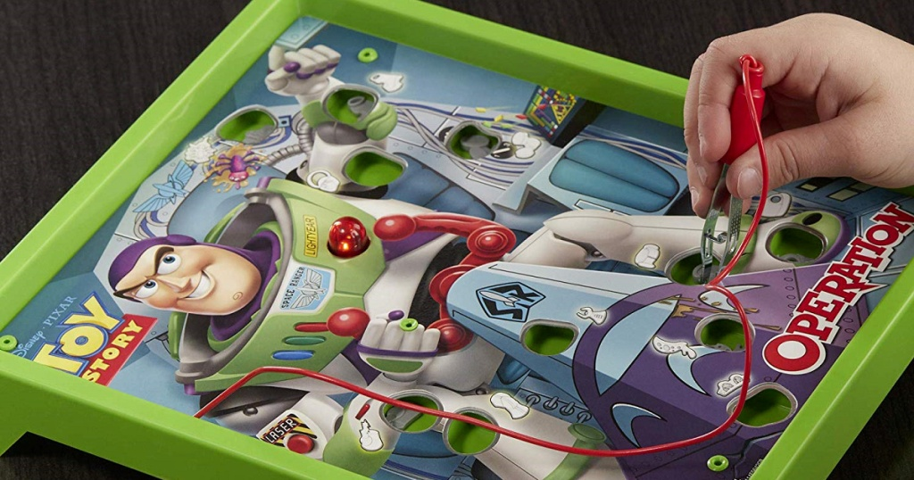 toy story 4 operation game being played by hand