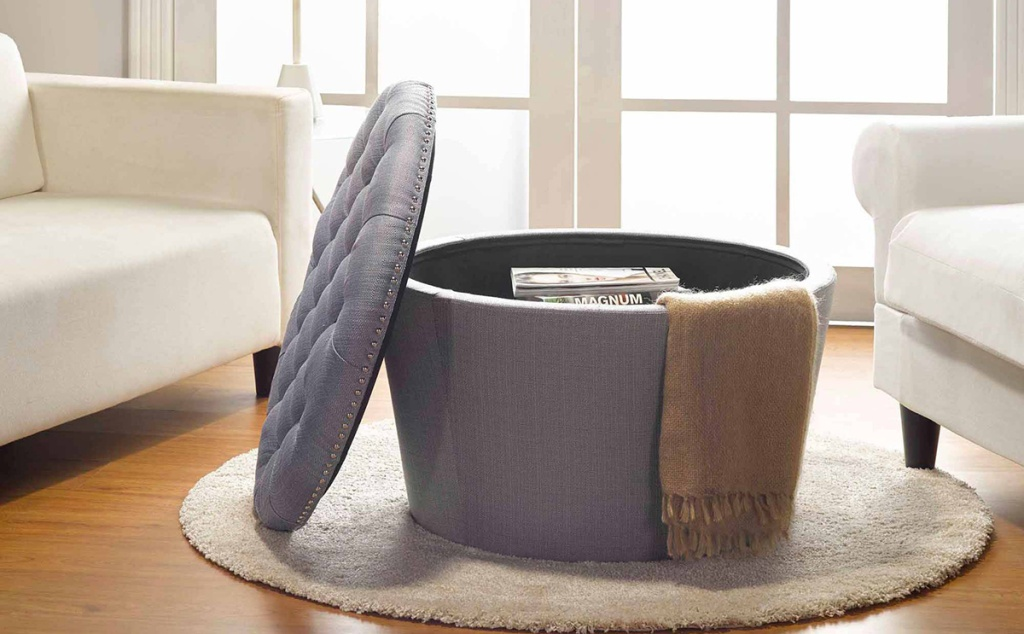 grey tufted ottoman with top open for storage