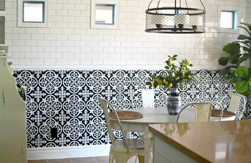 using floor pops tile on kitchen wall