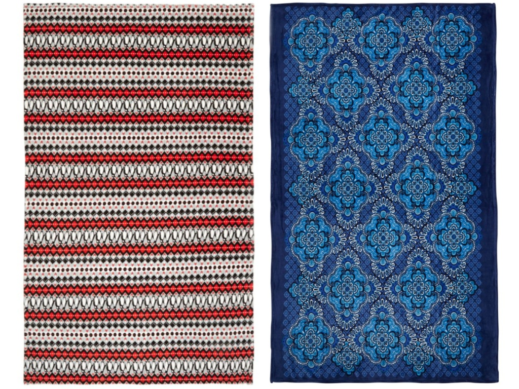red and blue themed throw blankets