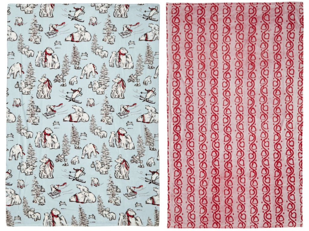 polar bear and red themed thow blankets