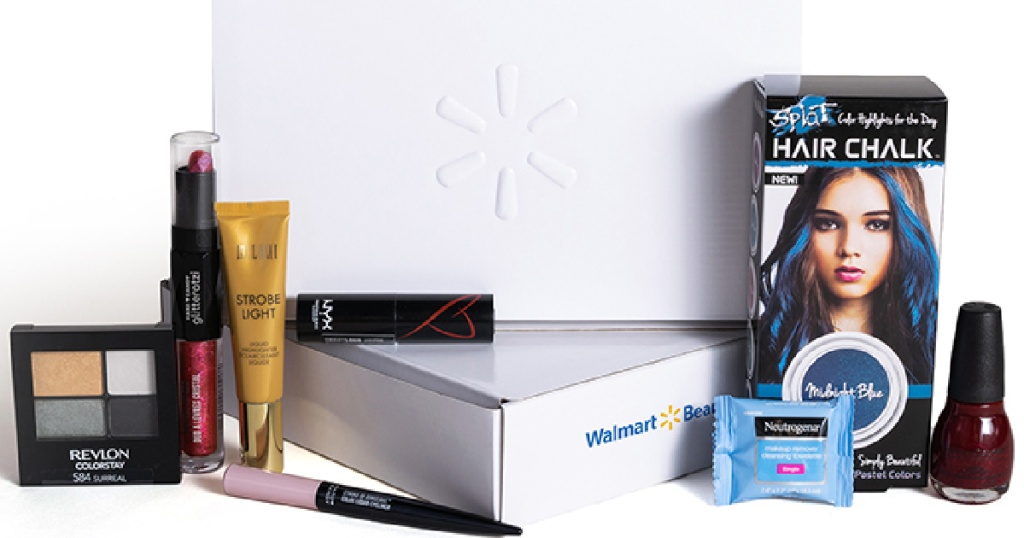 assortment of beauty products in front of white box
