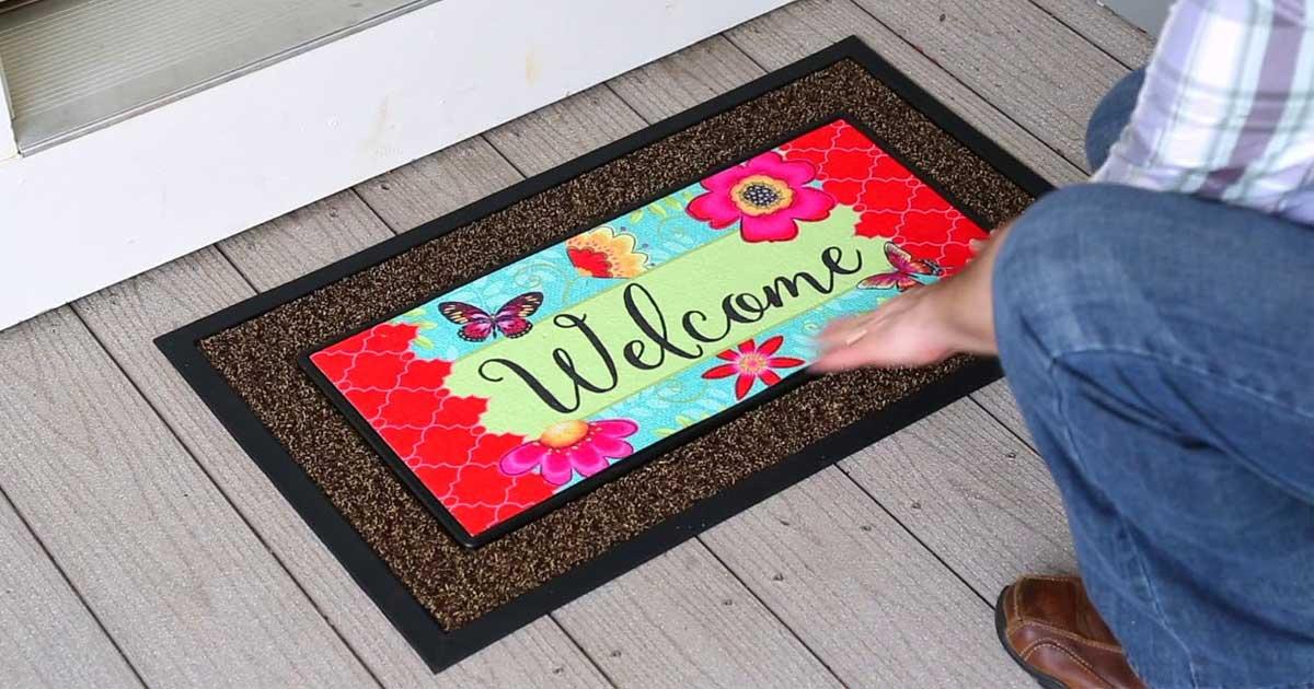 welcome doormat at the front door