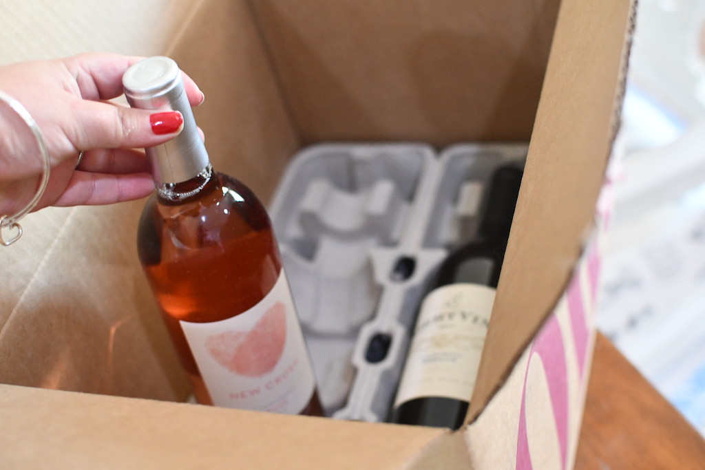 taking wine out of box