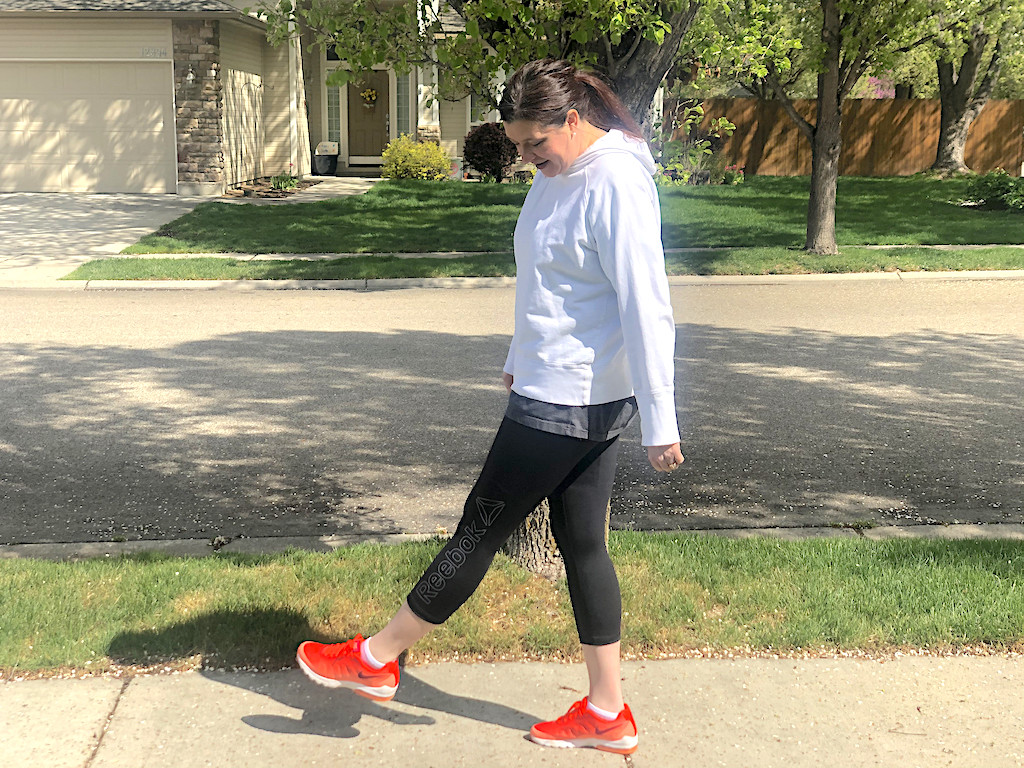 woman wearing Reebok leggings