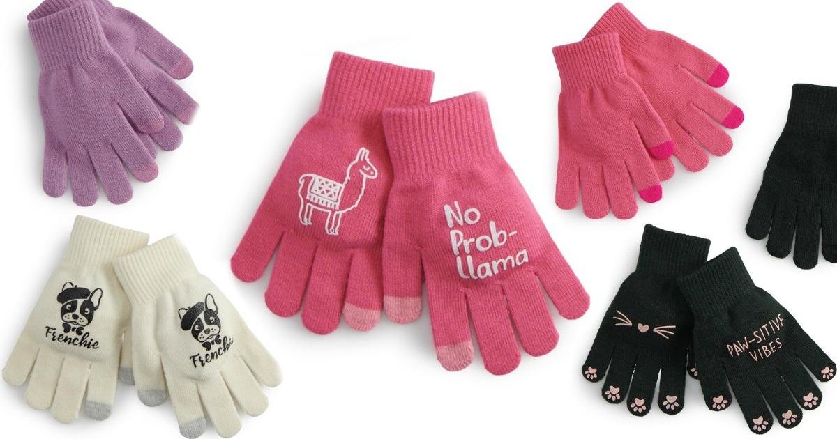 various pair of women's gloves