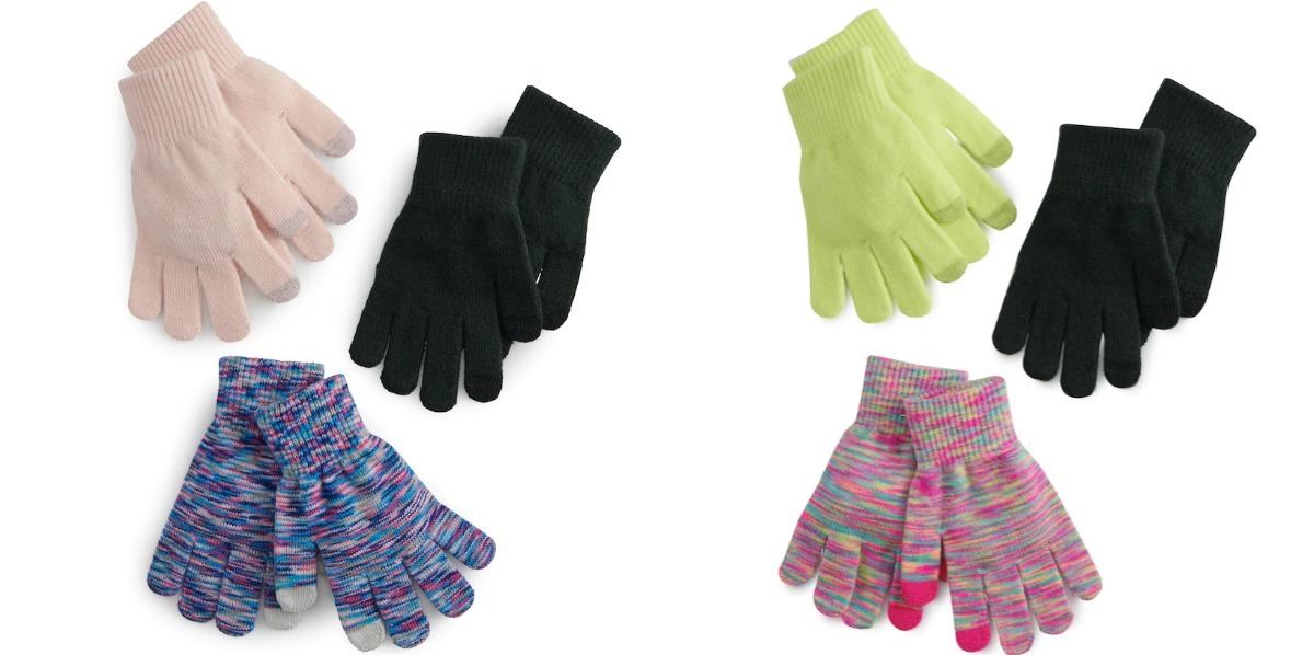 various styles and colors of women's gloves