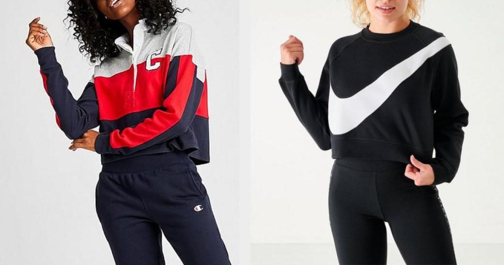 womens sweatshirts champion and nike on two models