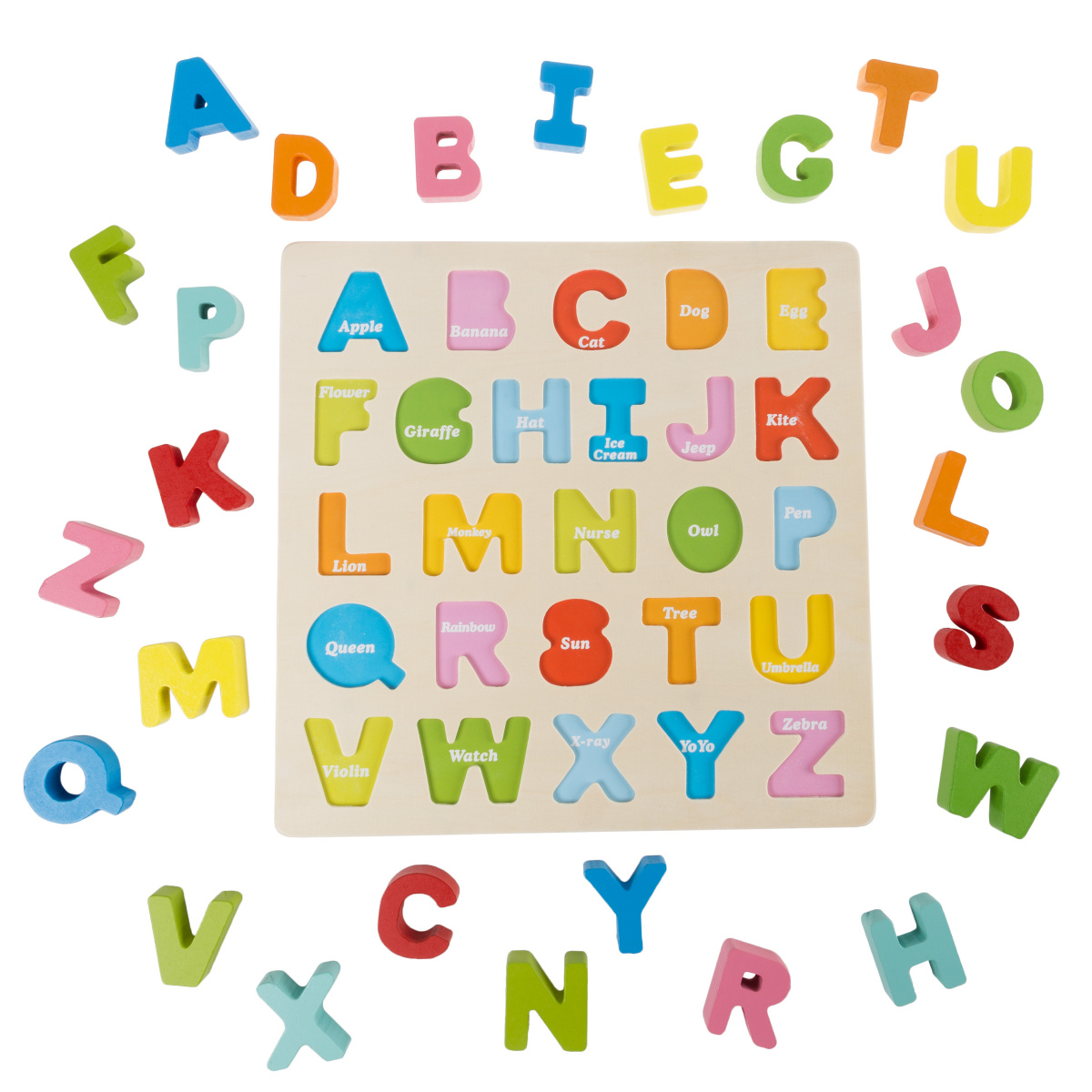 wooden alphabet puzzle with pieces