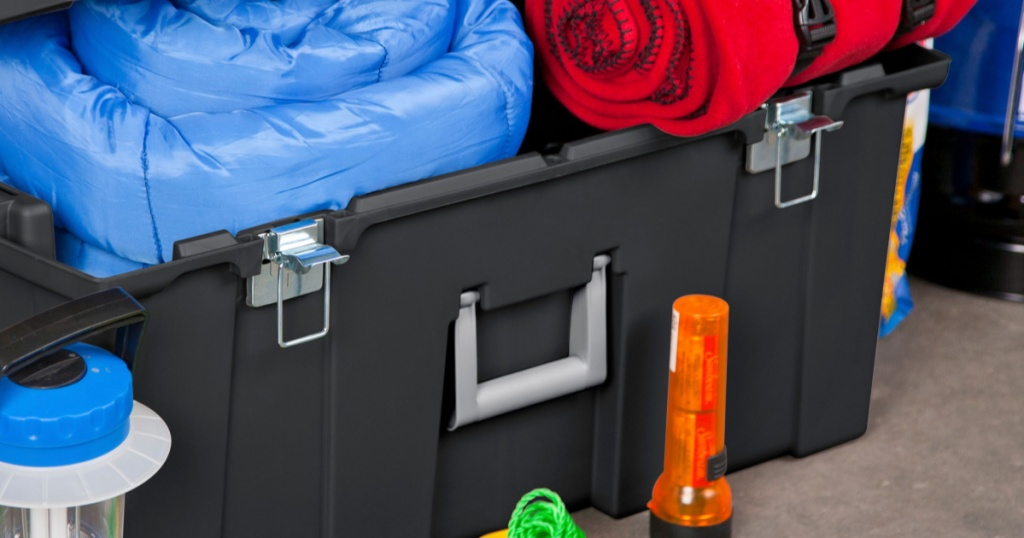 16-gallon sterilite storage trunk with camping gear
