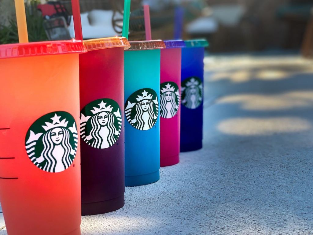 2020 Starbucks Color Changing Cups on concrete