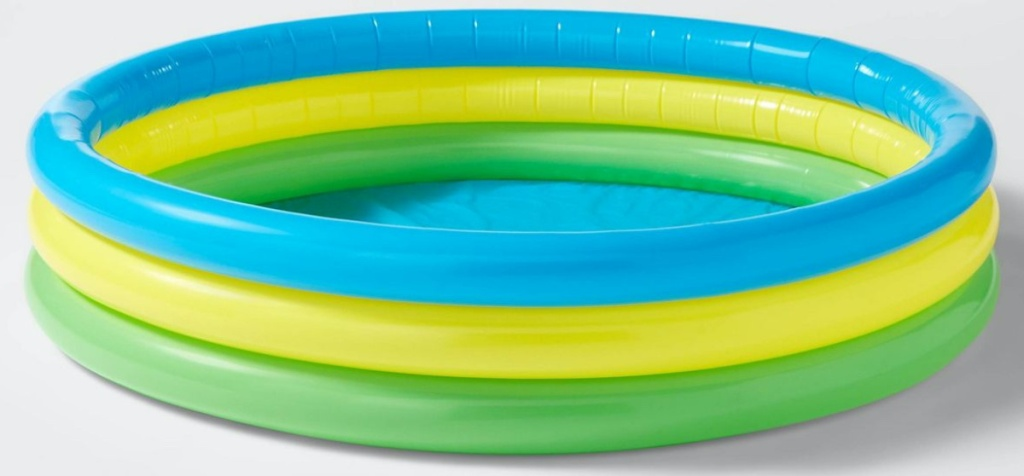 3 ring green, yellow, and blue kiddie pool