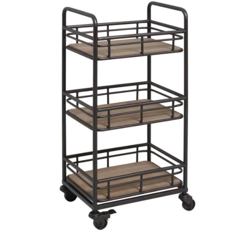 3-tier metal and wood storage rolling cart with wheels