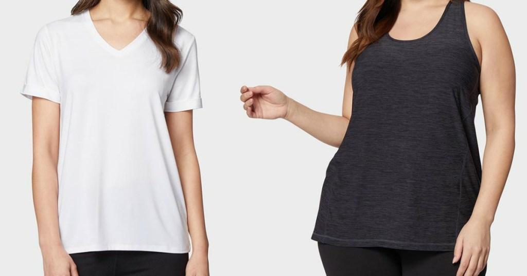 woman wearing a white tee next to a woman wearing a black tank