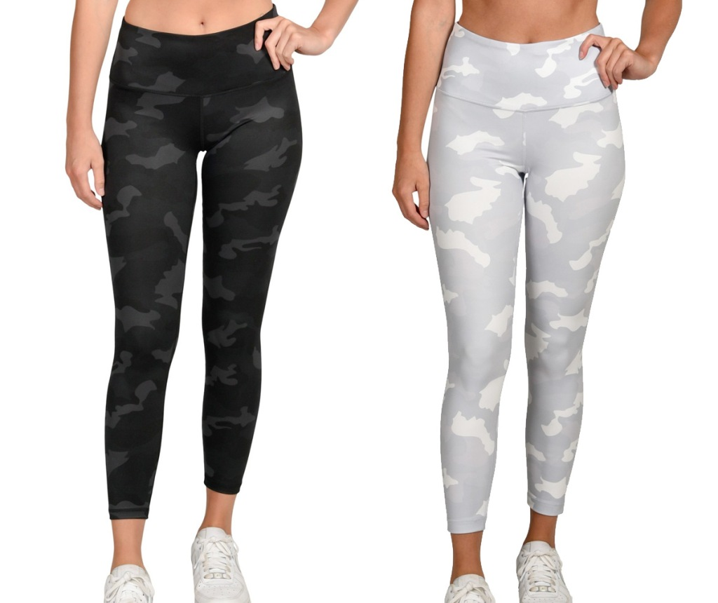 women modeling high waisted leggings in camo and white camo prints