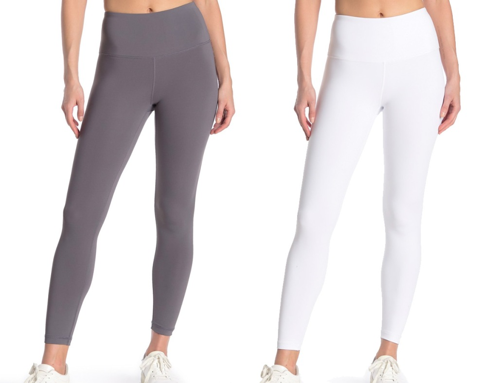 women modeling high waisted leggings in grey and white colors