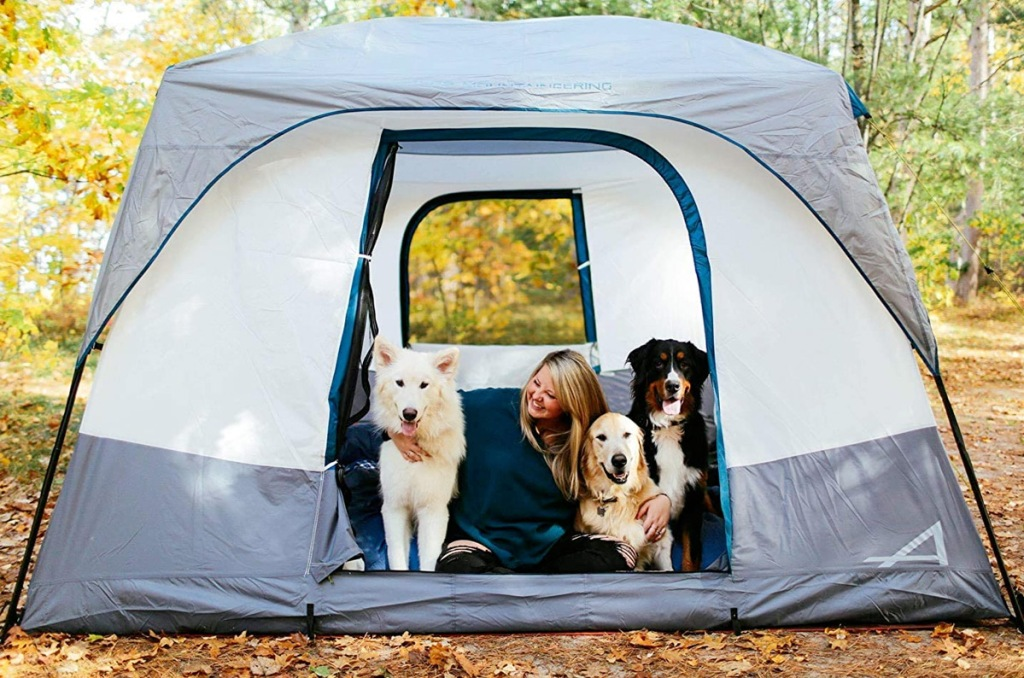 tall grey tent with woman and three dogs sitting inside door opening