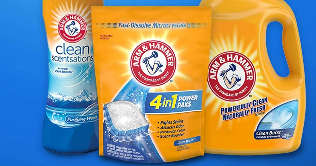 containers of Arm & Hammer laundry detergent in a row