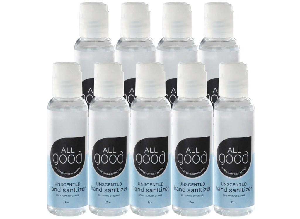 nine small bottles of hand sanitizer