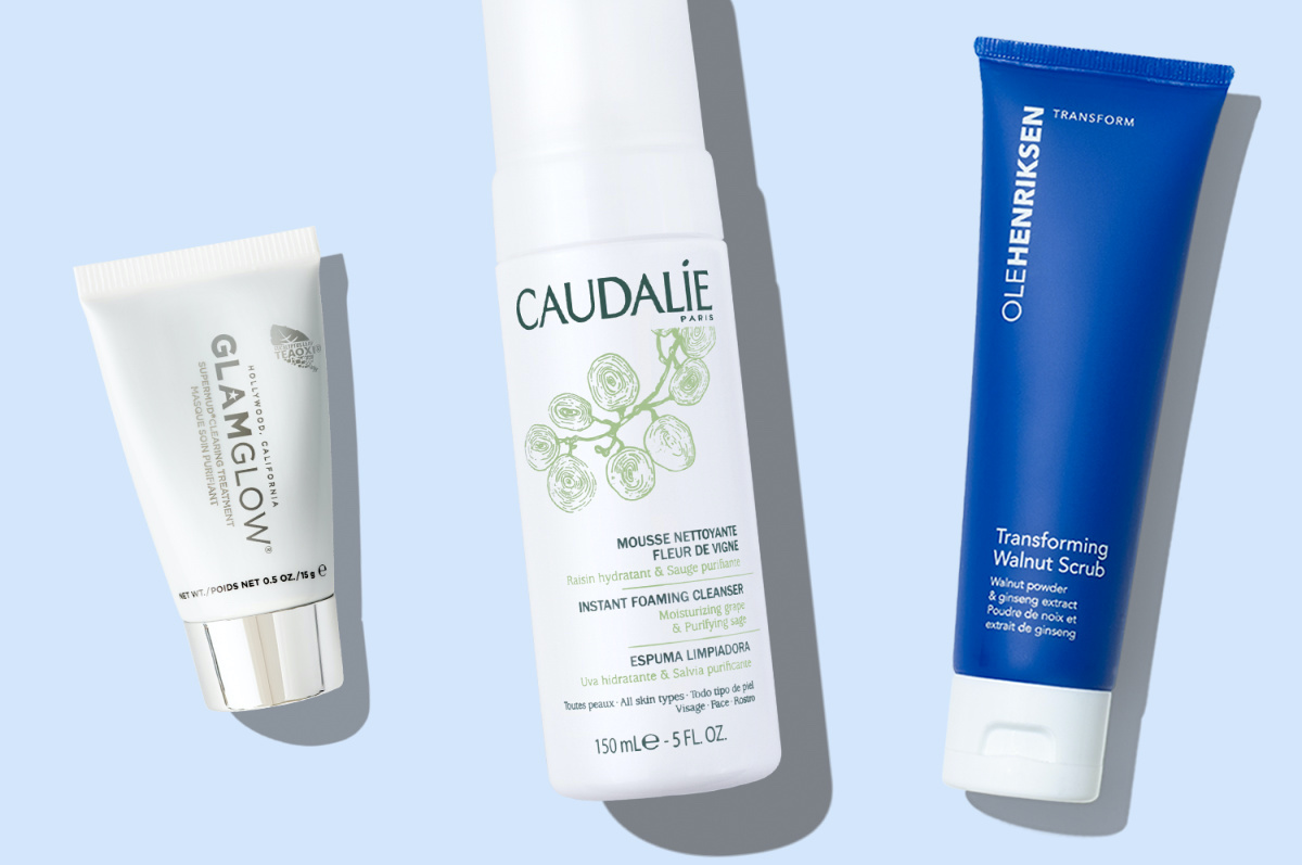 three skincare products and light blue background