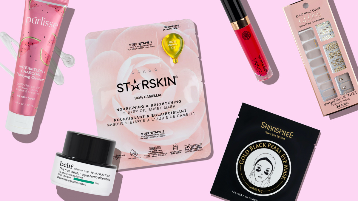 various beauty products and pink background