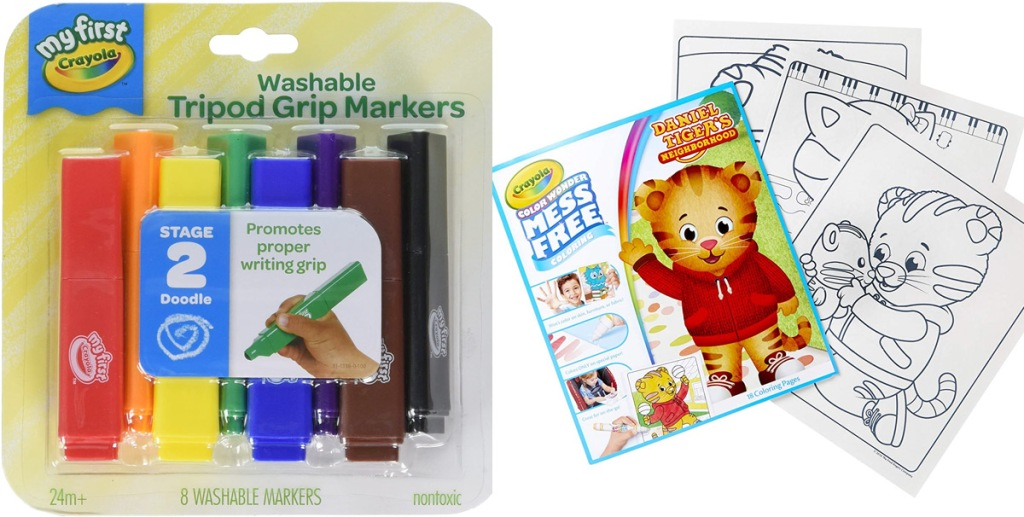package of triangular shaped crayola crayons and lion themed crayola coloring pages
