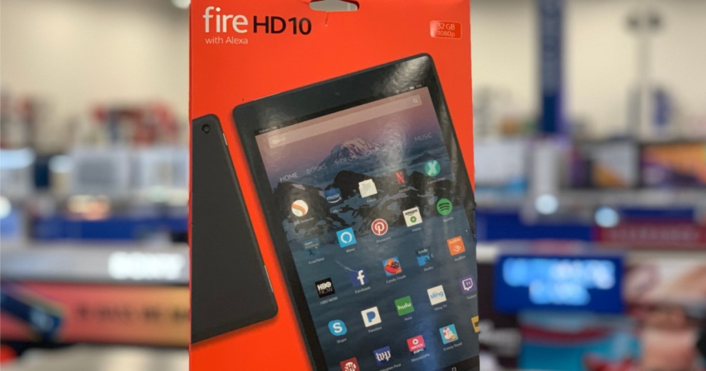 black tablet in package in store