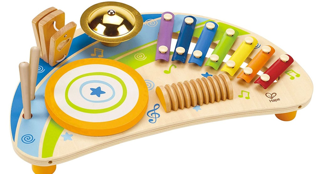 kids wooden percussion toy with rainbow colored keyboard and drum