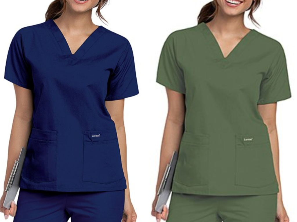 two women wearing short sleeve v-neck scrub tops