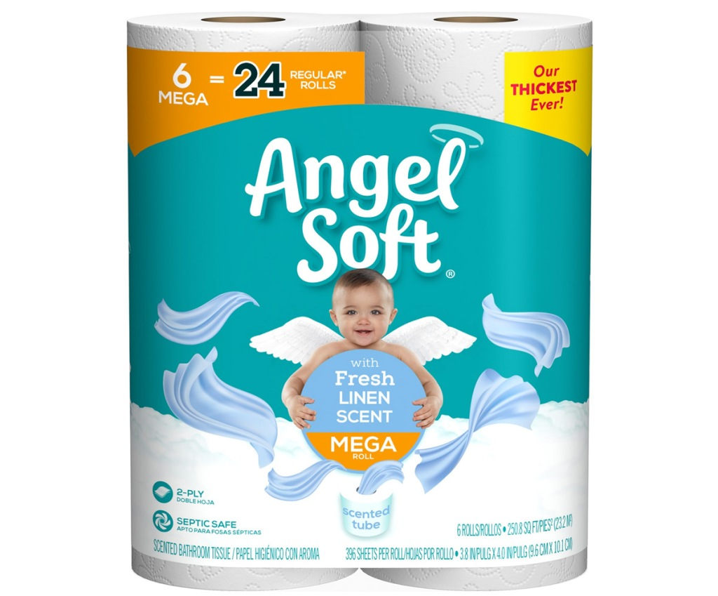 package of 6 mega rolls of angel soft toilet paper with linen scented tubes