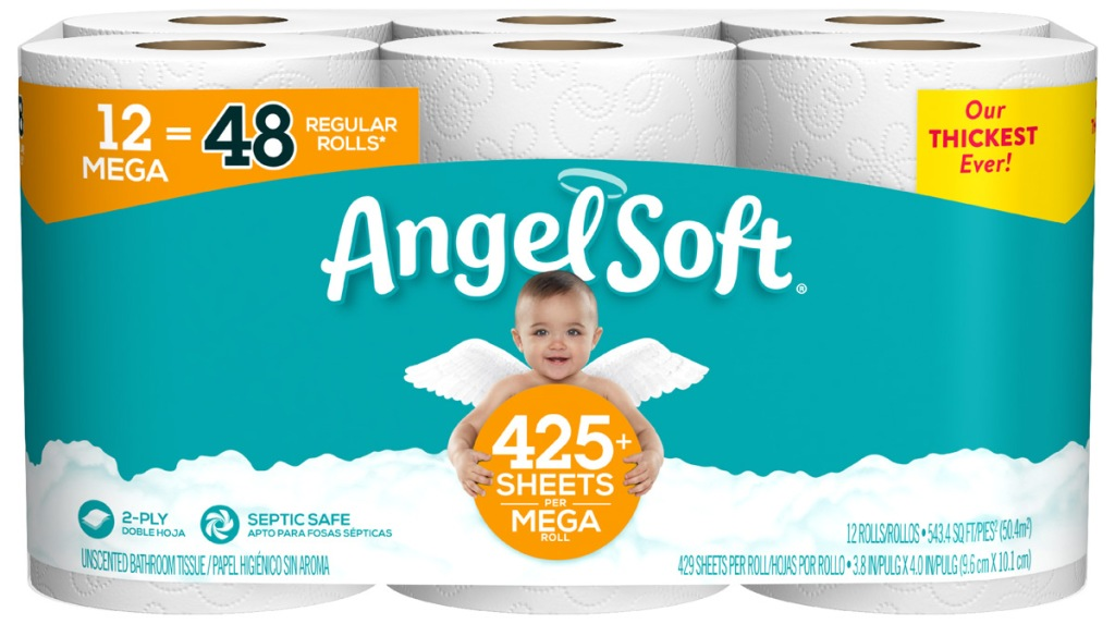package of 12 mega rolls of angel soft toilet paper
